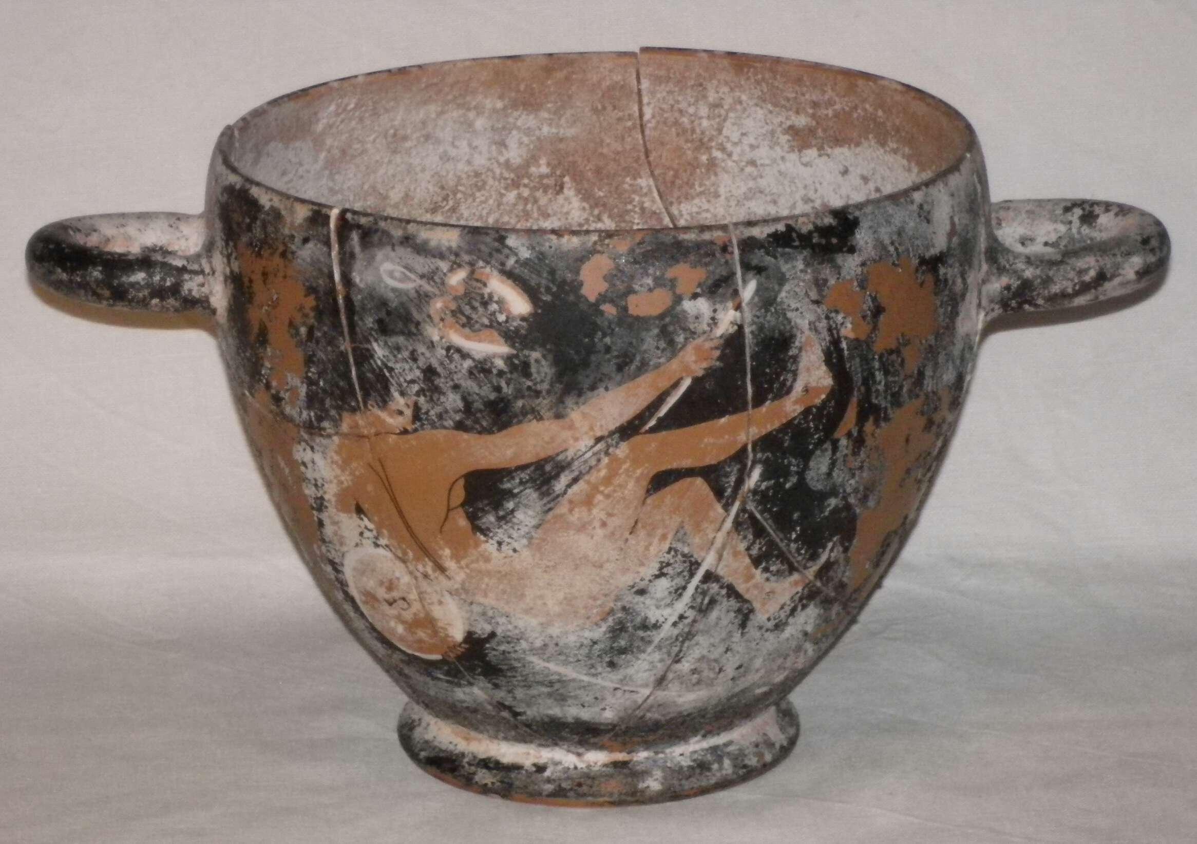 Grande skyphos a figure rosse antico vaso attico ceramica for Vasi antica grecia